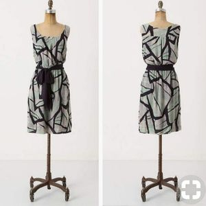 Anthropologie Odille Damselfly watercolor dress